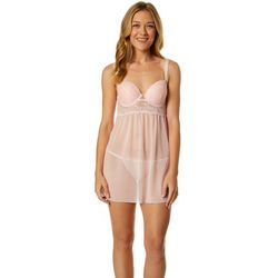 Carrie Amber Solid Lace Babydoll Chemise Nightgown