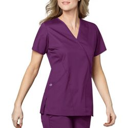 WonderWink Womens WonderWORK Mock Wrap Scrub Top