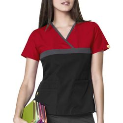 WonderWink Womens Charlie Color Block Scrub Top