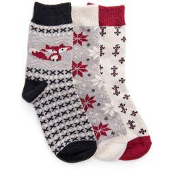 Muk Luks Womens 3-Pair Grey Holiday Boot Socks