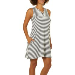 Jaclyn Intimates Womens Striped Lace-Up Tank Lounge Dress