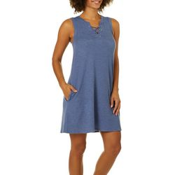 Jaclyn Intimates Womens Heathered Lace-Up Tank Lounge Dress