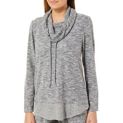 Piper & Taylor Womens Heathered Funnel Lounge Top