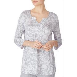 Ellen Tracy Womens Floral Print Tunic Pajama Top