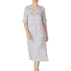 Ellen Tracy Womens Floral Midi Lounge Nightgown