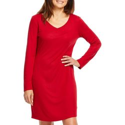 Gloria Vanderbilt Womens Laura Solid Long Sleeve Nightgown