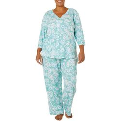 Karen Neuburger Plus Floral Sage Pajama Pants Set
