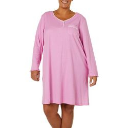 Karen Neuburger Plus Pin Dot Floral Nightgown