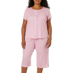 Karen Neuburger Plus Dot Print Pajama Capris Set