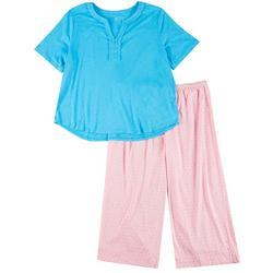 Plus 2-Pc. Diamond Print Pajama Capris Set