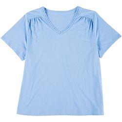 Karen Neuburger Plus Womens Solid Embroidered Sleep Shirt