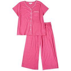 Plus 2-Pc. Raspberry Dot Pajama Capris Set