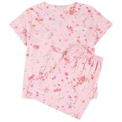 Plus 2-Pc. Coral Floral Pajama Capris Set