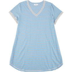 Plus Womens Striped Lacey Night Shirt