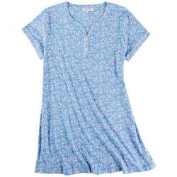 Karen Neuburger Plus Ditzy Floral Henley Nightgown