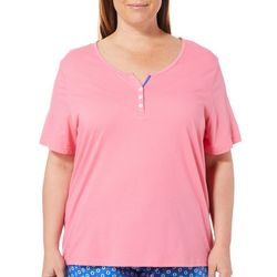 Karen Neuburger Plus Short Sleeve Henley Pajama Top