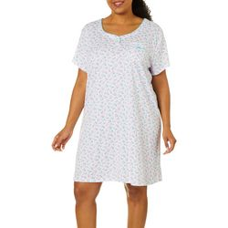 Karen Neuburger Plus Ditsy Floral Short Sleeve Nightgown