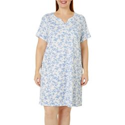Karen Neuburger Plus Toile Print Short Sleeve Nightgown