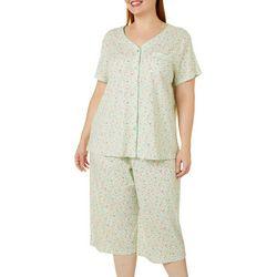 Plus 2-Pc. Ditsy Floral Pajama Capris Set