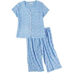 Plus Ditsy French Cardigan Pajama Pants Set
