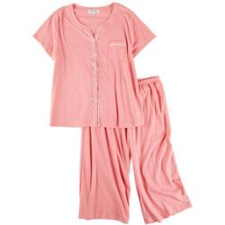Plus Pin Dot Cardigan Pajama Pants Set