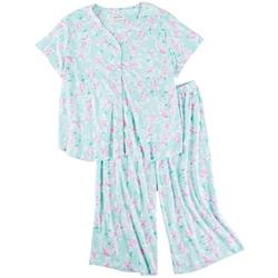 Plus 2-Pc. Rose Print Pajama Capris Set