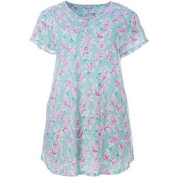 Plus Floral Print Henley Nightgown