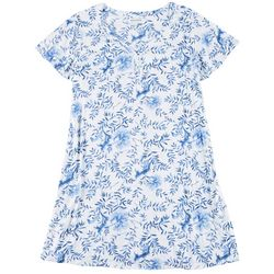 Plus China Floral Short Sleeve Nightgown