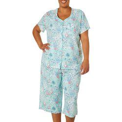 Karen Neuburger Plus Flamingo Print Pajama Capris Set
