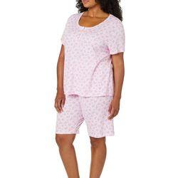 Karen Neuburger Plus Floral Print Bermuda Pajama Shorts Set