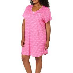 Karen Neuburger Plus Flower Print Short Sleeve Nightgown