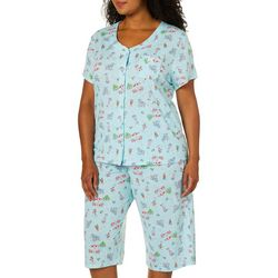 Karen Neuburger Plus Beach Drinks Print Capri Pajama  Set