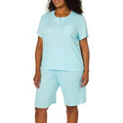 Karen Neuburger Plus Polka Dot Print Bermuda Pajama  Set