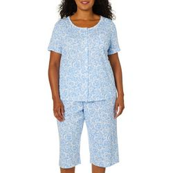Karen Neuburger Plus Floral Scroll Print Bermuda Pajama  Set