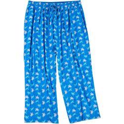 Goodnight Kiss Womens Plus Cropped Turtle Pajama Pants