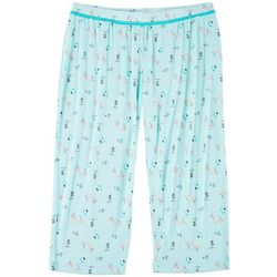 Plus Flamingo Print Pajama Capris