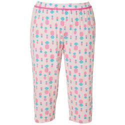Plus Pineapple Print Pajama Capris