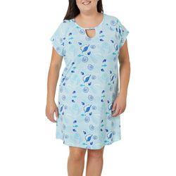 COOL GIRL Plus Shell Print Keyhole T-Shirt Nightgown