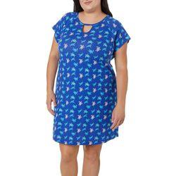Plus Turtle Print Keyhole T-Shirt Nightgown