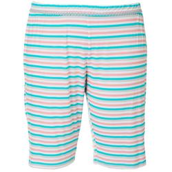 Plus Stripe Print Pajama Bermudas