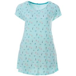 COOL GIRL Plus Flamingo Palm Pocket T-Shirt Nightgown