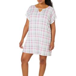 COOL GIRL Plus Stripe Print Keyhole T-Shirt Nightgown