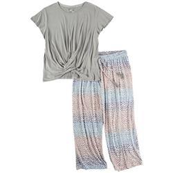 Plus Cheetah Print Pajama Pants Set