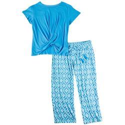 Plus Diamond Print Pajama Pants Set