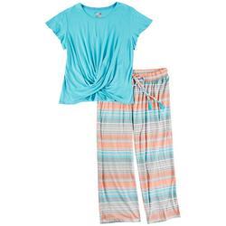 Plus Stripe Print Pajama Pants Set
