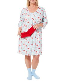Coral Bay Plus Starfish Candy Cane Nightgown & Socks Set