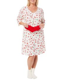 Coral Bay Plus Holiday Cardinal Nightgown & Socks Set