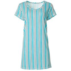 Plus Vertical Stripe T-Shirt Nightgown