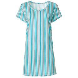 Plus Vertical Stripe T-Shirt Nightgown