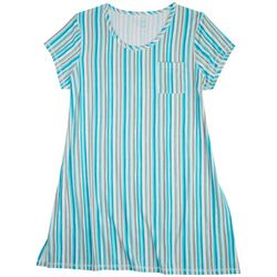 COOL GIRL Plus Cool Stripes Print Sleeve T-Shirt